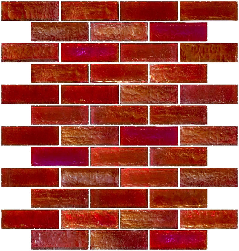 1x3 Inch Red Iridescent Glass Subway Tile