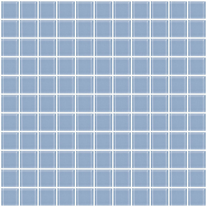 1 Inch Pale Sky Blue Glass Tile