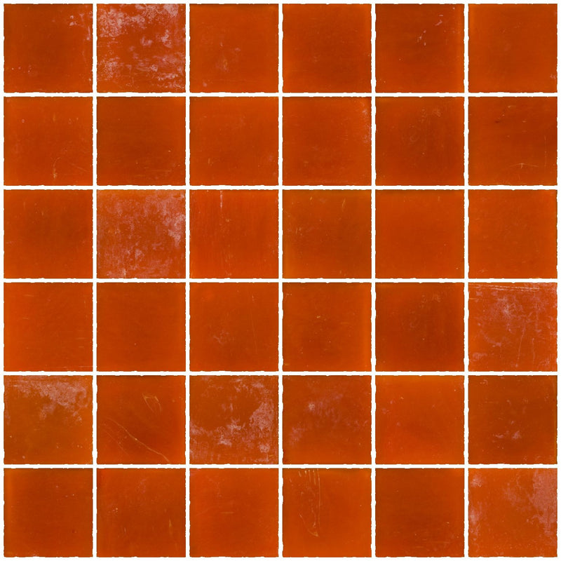 2x2 Inch Matte Orange Glass Tile