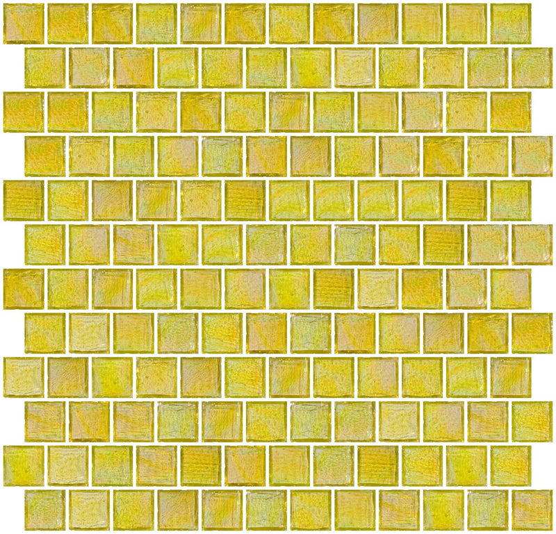 1 Inch Sunshine Yellow Iridescent Glass Tile Reset In Offset Layout