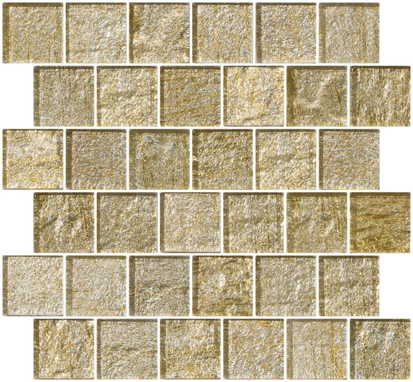 2x2 Inch Gold and Silver Metallic Glass Tile Reset In Offset Layout