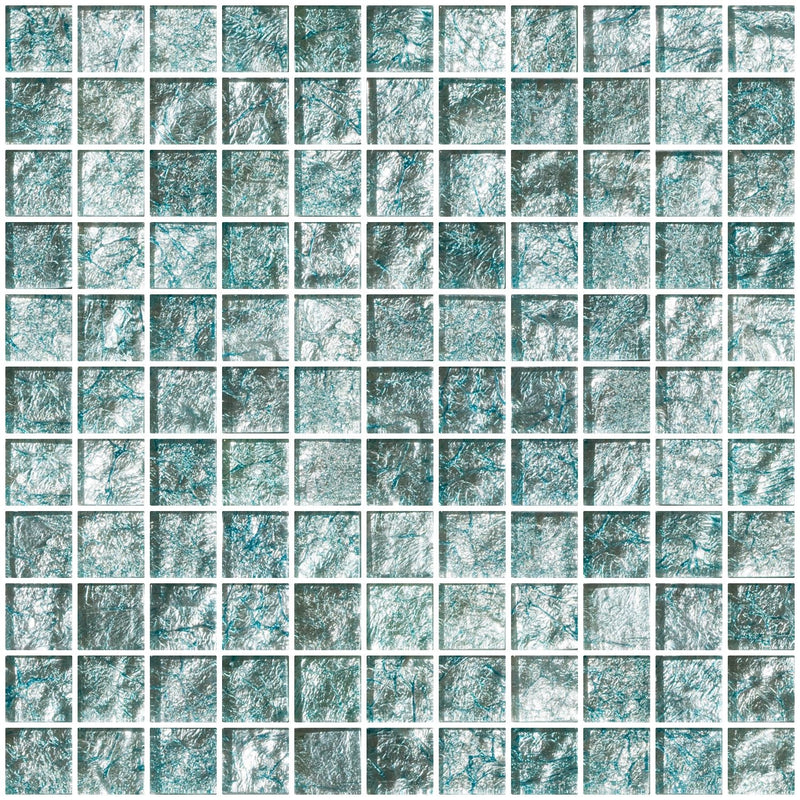 1 Inch Iced Aqua Steel Blue Metallic Glass Tile