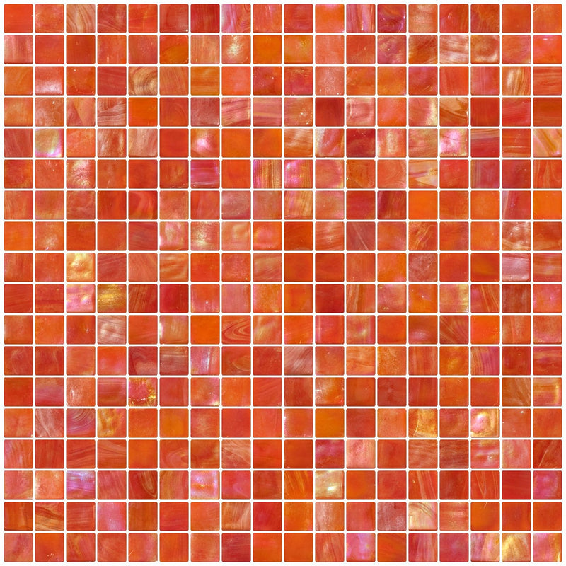 5/8 Inch Scarlet Orange Iridescent Glass Tile