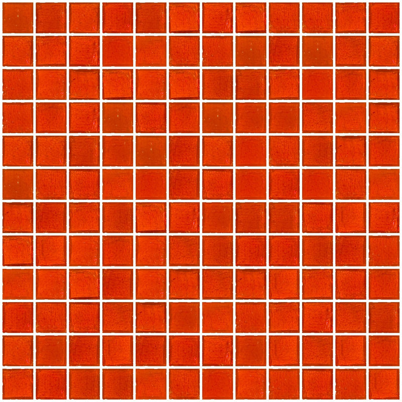 1 Inch Transparent Bright Orange Glass Tile