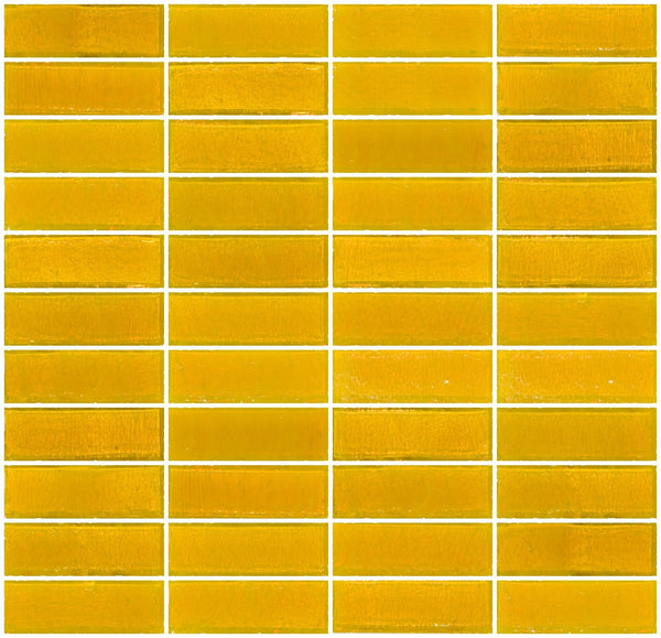 1x3 Inch Deep Sunshine Yellow Transparent Glass Subway Tile Stacked