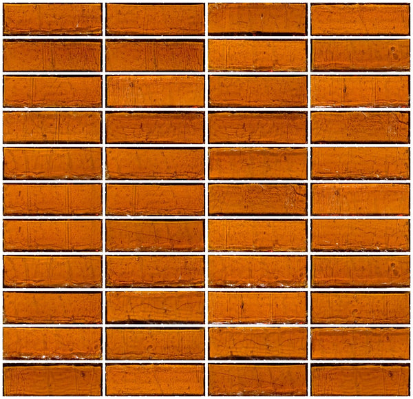 1x3 Inch Medium Brown Transparent Glass Subway Tile Stacked