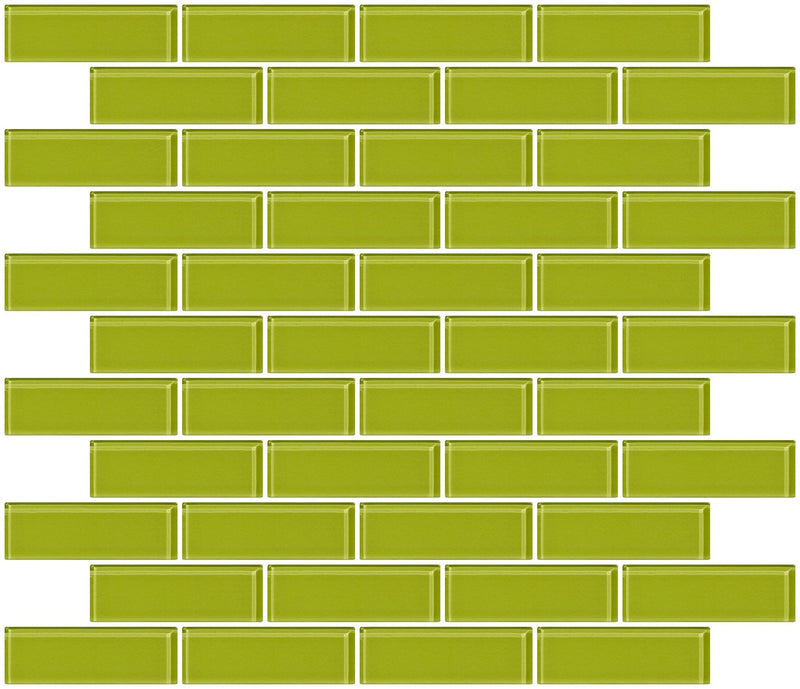 1x3 Inch Lime Green Glass Subway Tile