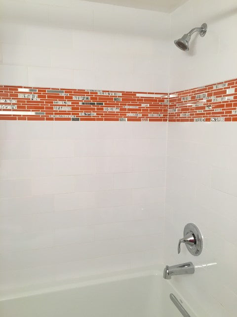 Bright Orange Glass Tile with Floral Accents