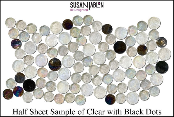 Half Sheet Sample of Clear with Black Dots