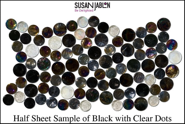 Half Sheet Sample of Black with Clear Dots