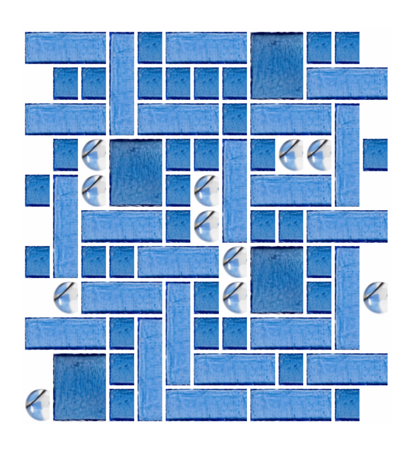 blue squares and dots