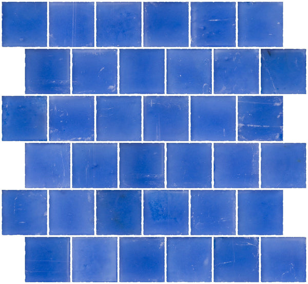 2x2 Inch Matte Medium Blue Glass Tile Reset In Offset Layout