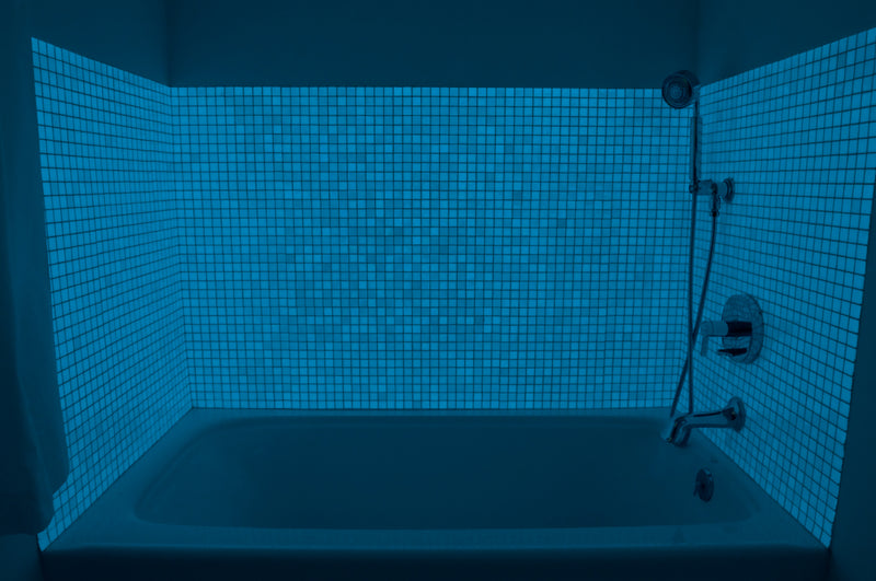 1 Inch Turquoise Blue Glow in the Dark Glass Tile
