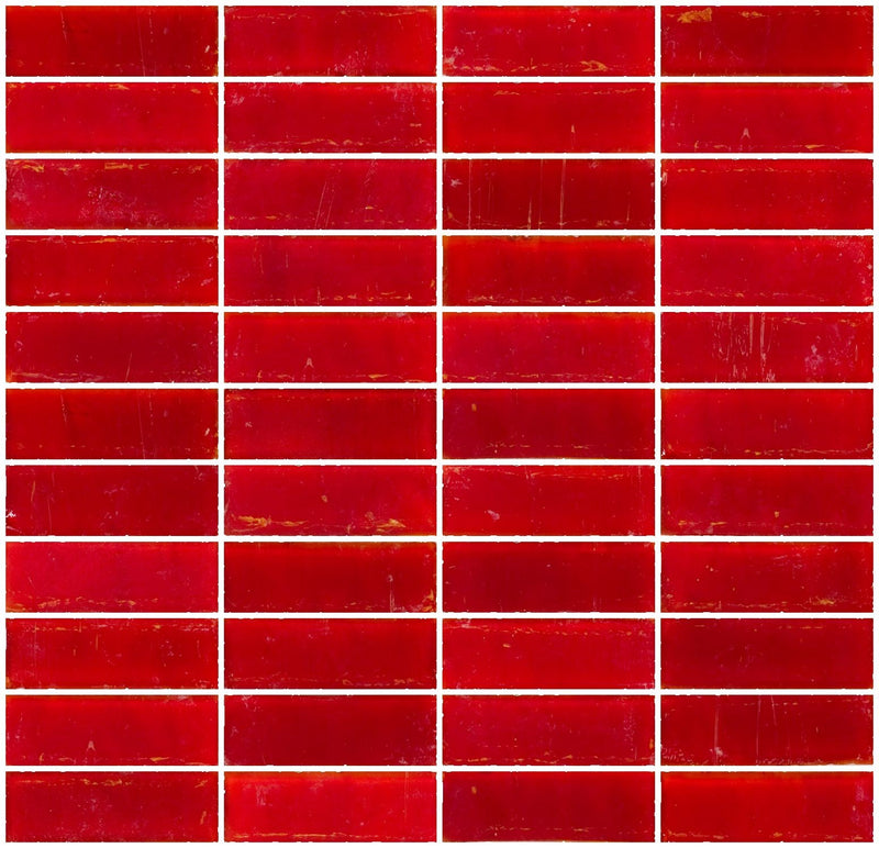 1x3 Inch Matte Red Glass Subway Tile Stacked