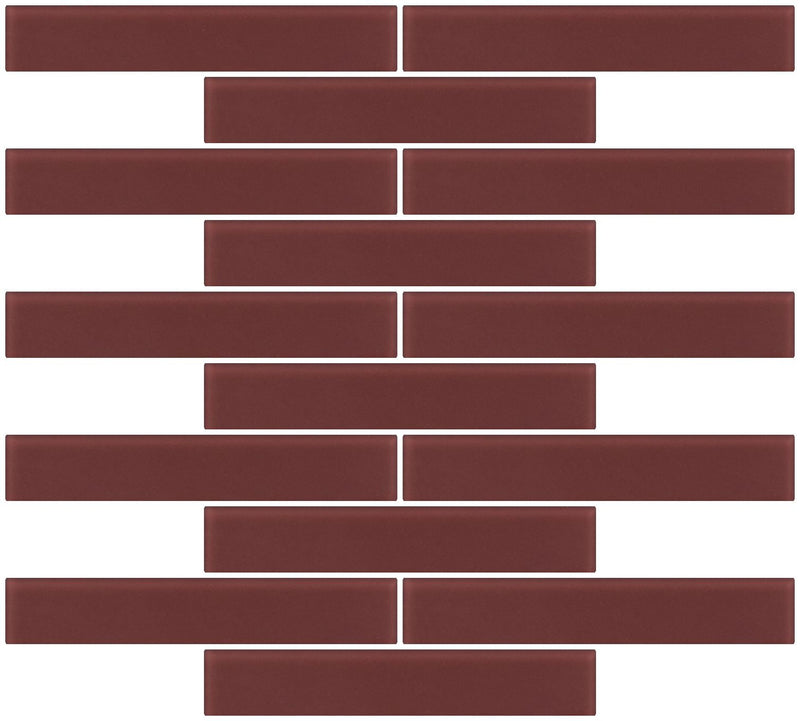 1x6 Inch Brown Frosted Glass Subway Tile Reset In Running-brick Layout