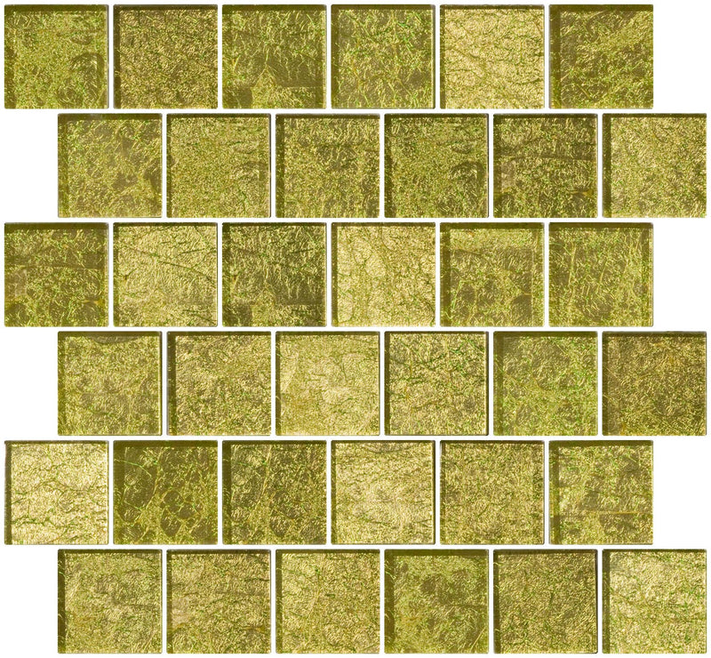 2x2 Inch Golden Dew Metallic Glass Tile Reset In Offset Layout