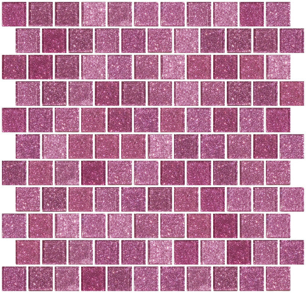 1 Inch Barbie Pink Glitter Glass Tile Offset