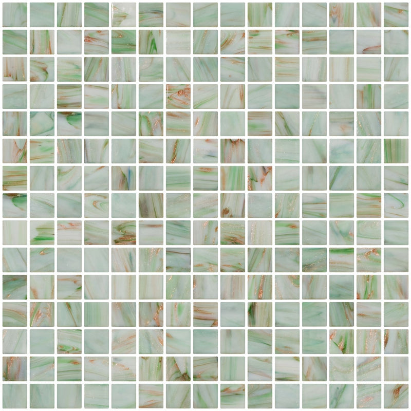3/4 Inch White with Green Gold Marbled Glass Tile
