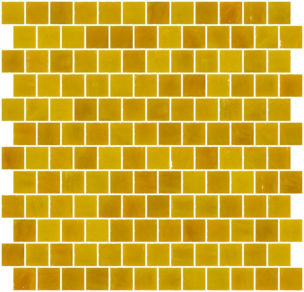 1 Inch Opaque Deep Sunshine Yellow Glass Tile Reset In Offset Layout