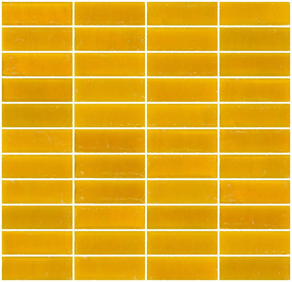 1x3 Inch Matte Deep Sunshine Yellow Glass Subway Tile Stacked