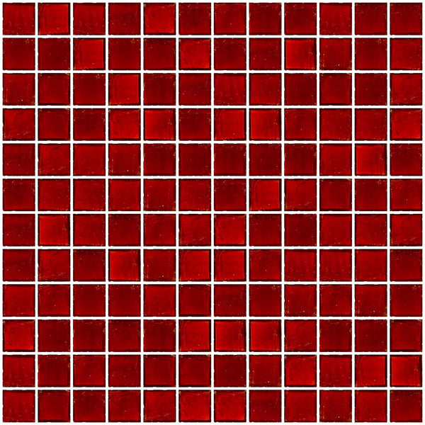 1 Inch Transparent Red Glass Tile