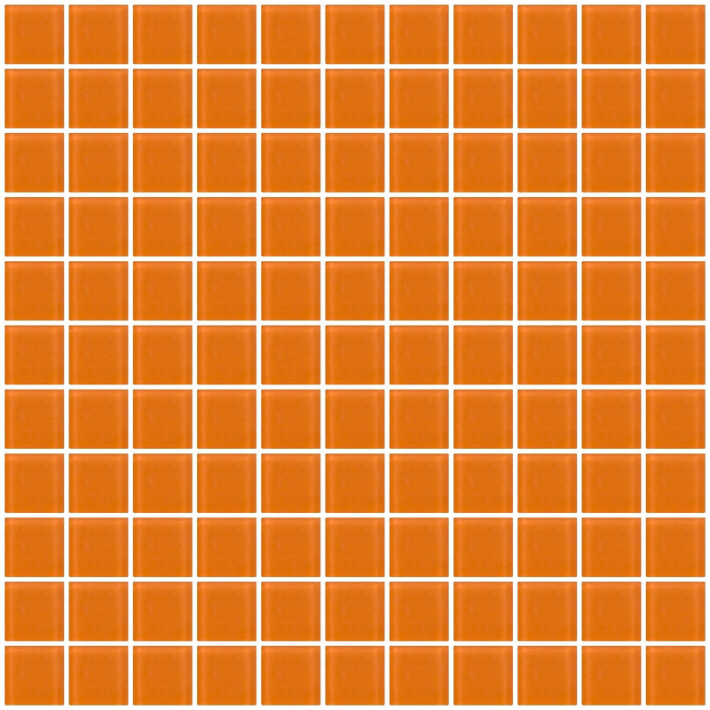 1 Inch Retro Orange Frosted Glass Tile
