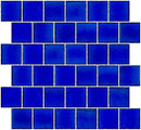 2x2 Inch Transparent Cobalt Blue Glass Tile Reset In Offset Layout