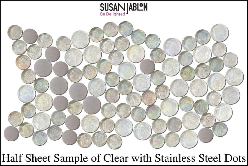 Half Sheet Sample of Clear with Stainless Steel Dots
