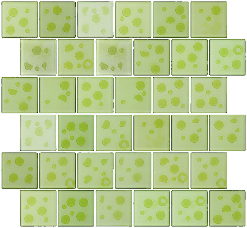2x2 Inch Cosmos Glass Tile In Lime Green Offset