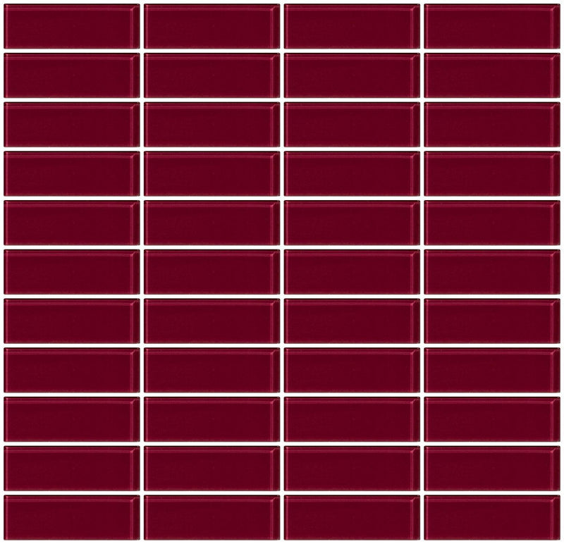 1x3 Inch Burgundy Red Glass Subway Tile Reset In Stacked Layout