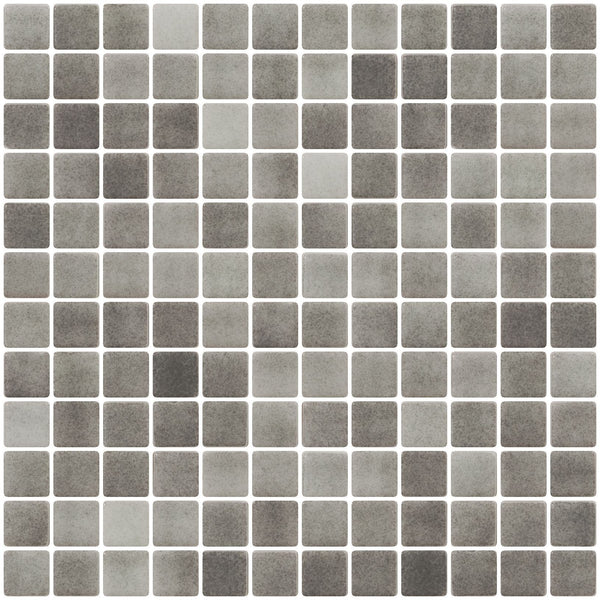 1 Inch Smoke Gray Dapple on White Recycled Glass Tile