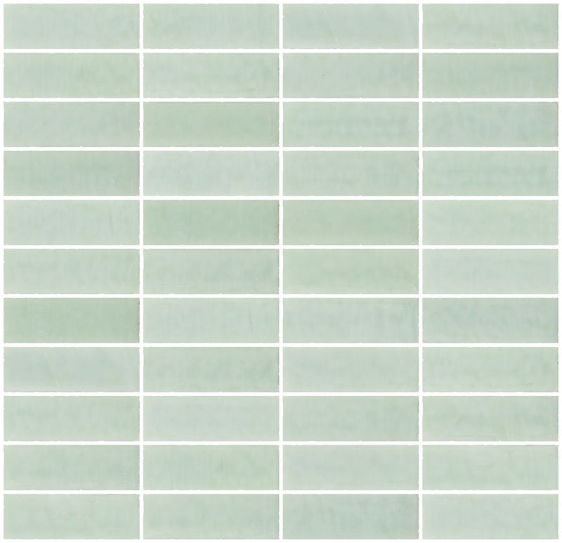 1x3 Inch Opaque Jadeite Green Glass Subway Tile Stacked