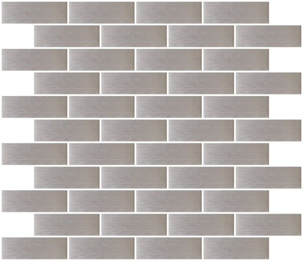 1x3 Inch Stainless Steel Subway Tile Reset In Running-brick Layout