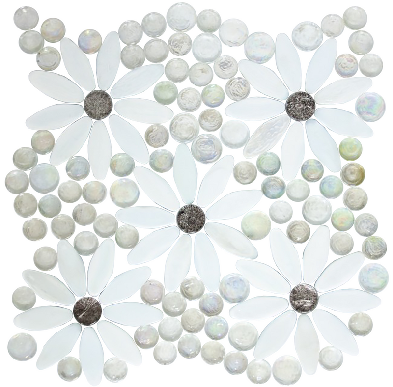 Daisy Gardens | White Flowers, Platinum Metallic Centers with Clear Iridescent Glass Tile Mix