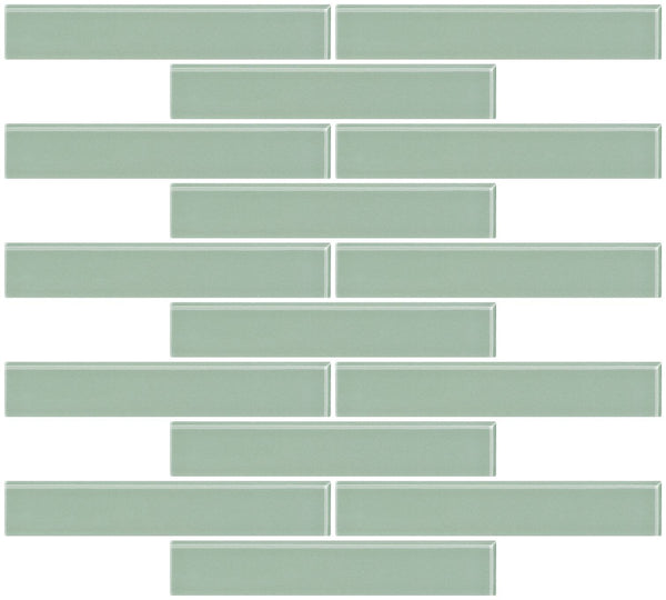 1x6 Inch Light Sage Green Glass Subway Tile Reset In Running-brick Layout