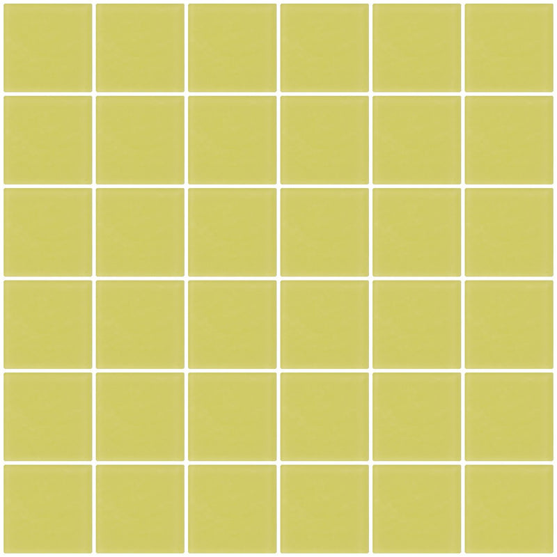 2x2 Inch Light Lime Green Frosted Glass Tile