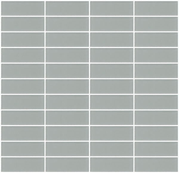 1x3 Inch Gray Frosted Glass Subway Tile Stacked