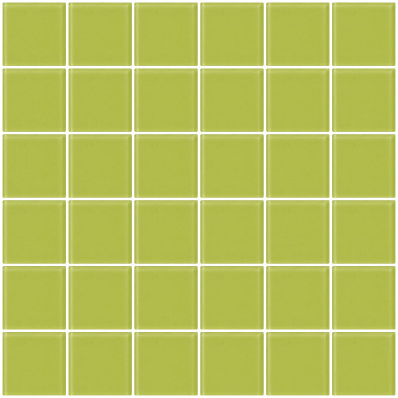 2x2 Inch Lime Green Frosted Glass Tile