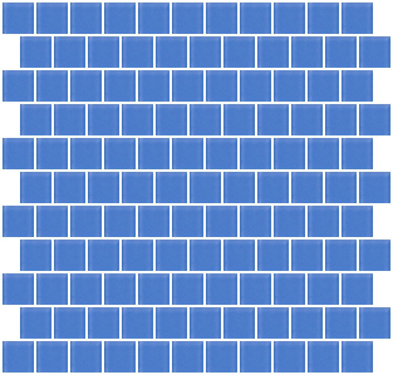 1 Inch Periwinkle Blue Frosted Glass Tile Reset In Offset Layout