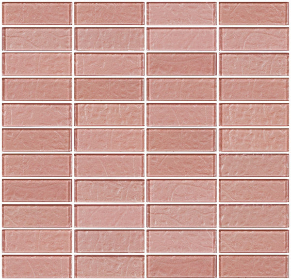 1x3 Inch Pale Rose Pink Metallic Glass Subway Tile Stacked