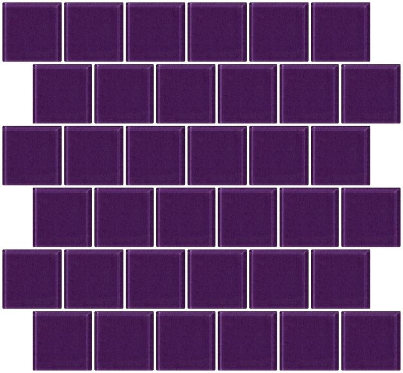 2x2 Inch Lavender Purple Glass Tile Offset