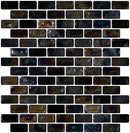 3/4 x 1 1/2 Inch Black Iridescent Glass Subway Tile