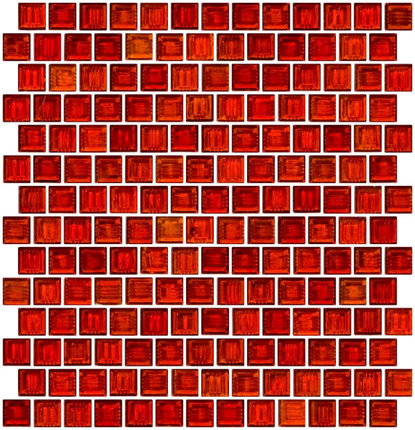 3/4 Inch Transparent Paprika Red Glass Tile Reset In Offset Layout