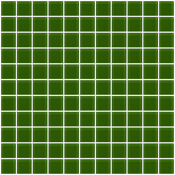 1 Inch Medium Dark Green Glass Tile