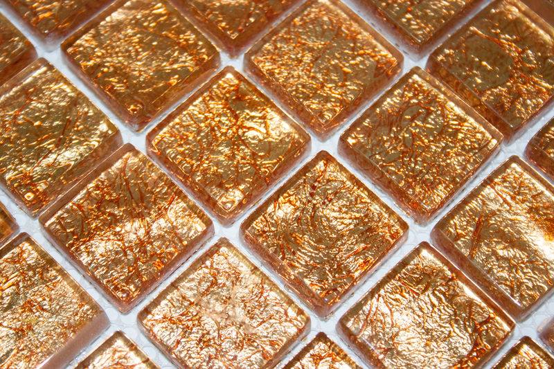 1 Inch Fire Bronze Metallic Glass Tile