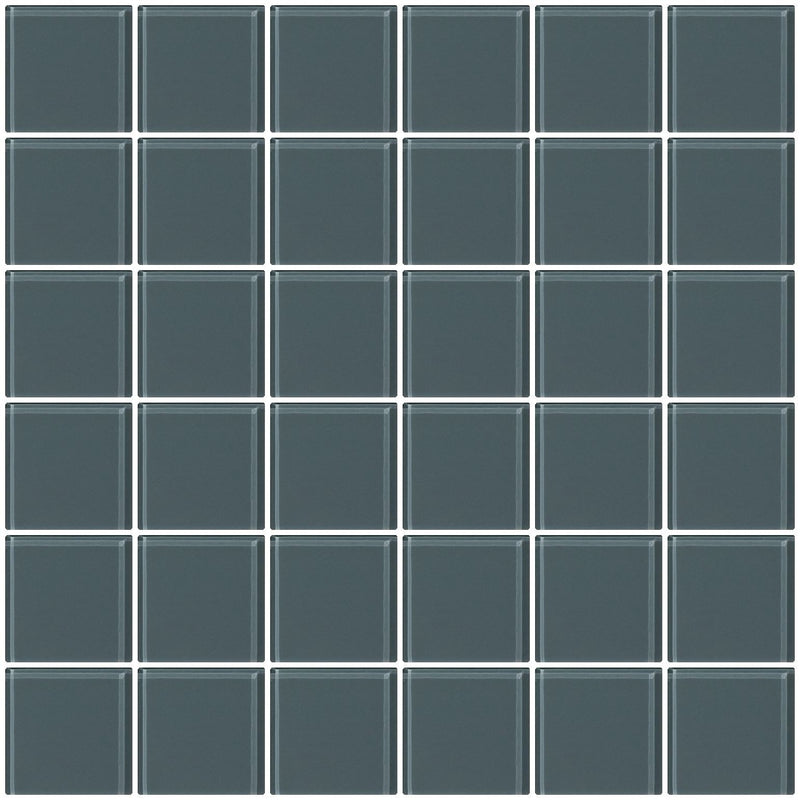 2x2 Inch Medium Gray Glass Tile