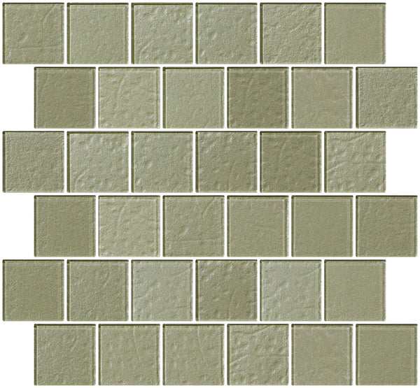 2x2 Inch Soft Sage Green Metallic Glass Tile Reset In Offset Layout