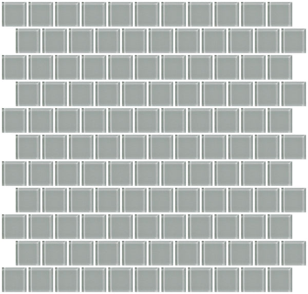 1 Inch Gray Glass Tile Reset In Offset Layout