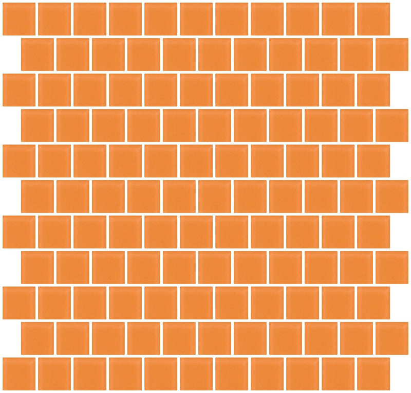 1 Inch Apricot Orange Frosted Glass Tile Reset In Offset Layout
