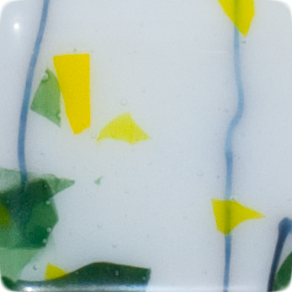 2 Inch Square Spring Sprouts Semi-Transparent Fused Glass Accent Tile